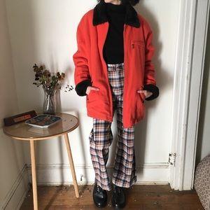 Red orange faux fur lined jacket